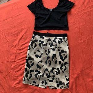 Silk leopard skirt- Ann Taylor